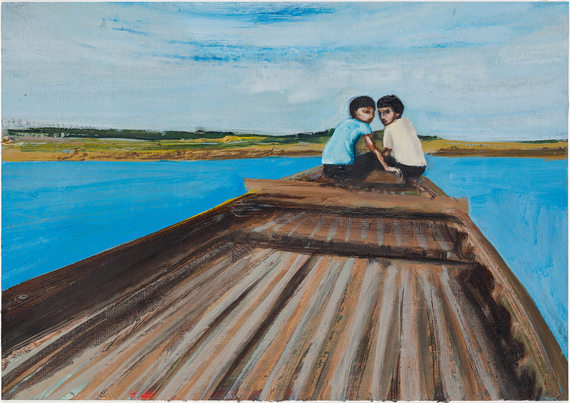 Matthew Krishanu, Two Boys on a Boat, 2018  Oil on paper 21 x 30cm Courtesy of the artist
